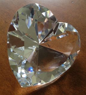 Tiffany and Co Heart Shaped Crystal paperweight wedding birthday