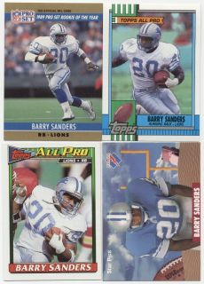 Barry Sanders 1990 Topps 1991 Detroit Lions NFL All Pro lot Rookie of