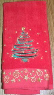Tree Hand Towels Cotton Red Green Gold Star Scrolls Swirl Holiday Bath
