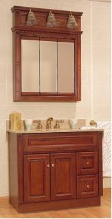 Birch Bathroom 36 Vanity RH Drawers Medicine Cabinet Mirror 3 Light