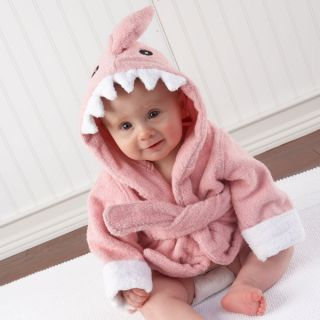 The Fin Begin Pink Shark Bath Robe Baby Shower Gift Girl Terry