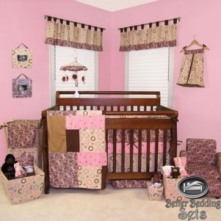 Newborn Pink Brown Safari Zebra Print Crib Nursery Infant Bedding Set