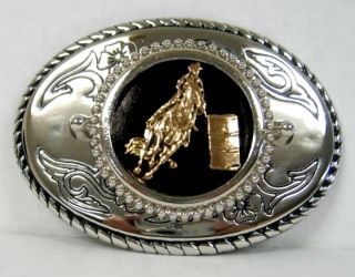 BARREL RACING RACER WESTERN BELT BUCKLE RODEO OVAL SILVER GOLD Made in