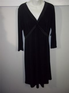 BCBG Paris Black V Neck Empire Waist 3 4 Sleeve Matte Jersey Dress Sz