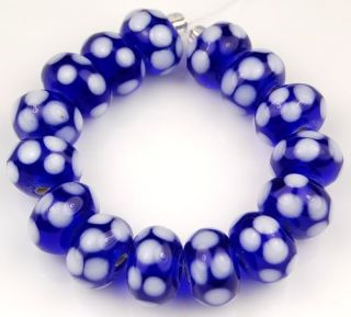 Handmade Lampwork Glass Beads Cobalt Blue White Polka Dot Rondelle