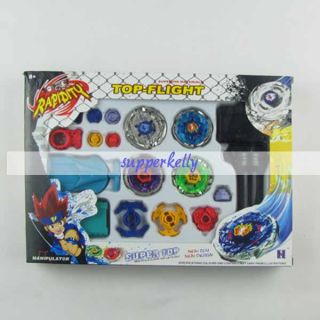 Top Super Metal Fusion Double String Launcher Beyblade Battle Toy Set