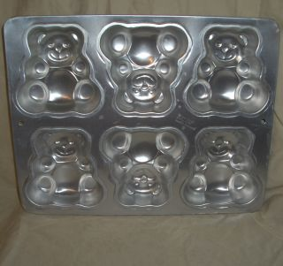Aluminum Teddy Bear Cake Pan 1991 Wilton Six Mini Bears Pan Mold