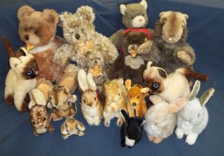 Germany Vintage Stuffed Animals Lot Bears Beavers Cats Bunnies & More