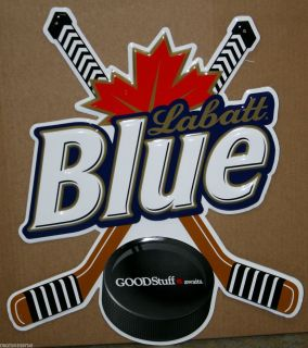 Labatt Blue Beer Die Cut Hockey Sign Metal Sign