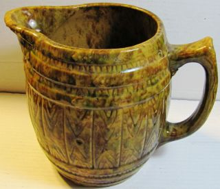 Bennington Spongeware Milk Pitcher Brown Early 1900s