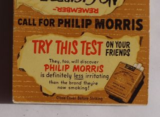 1940s Large Matchbook Call for Philip Morris Cigarettes Smoking Test