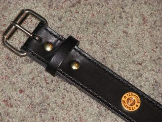 Custom Hand Made Leather Belt with 12 gauge brass conchos made in the
