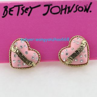 Betsey Johnson Pink Solid love Heart Wish Box Ear Studs Earrings