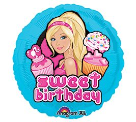 Blue Barbie Sweet Cupcake Happy Birthday 18 Mylar Foil Balloon Party