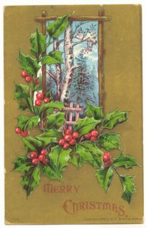 1908 Merry Christmas Birch Trees Holly Vintage Postcard