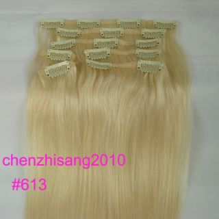 16 Clip in Real Human Hair Extensions 613 Bleach Blonde 70g High