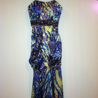 Blondie Nites Multi Color Strapless Long Gown Prom Dress Size Small S