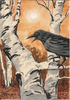 OF PAINTING RYTA REALISM BIRCH TREE FOLK ART RAVEN CROW ILLUSTRATION