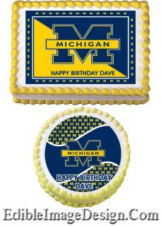 University of Michigan Edible Birthday Cake Party Image Cupcake Topper