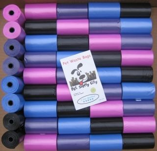 Biodegradable Pet Dog Waste Poop Bags Pick Up Pink Blue Black Purple