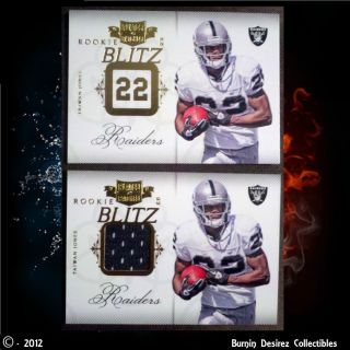 299 TAIWAN JONES Game Used Jersey Rookie Blitz Cards SP RC Oakland