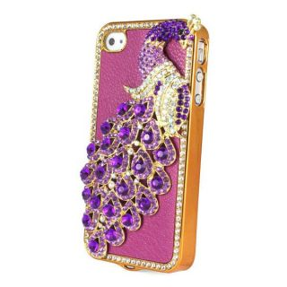 Leather Peacock Diamond Rainstone Bling Case Cover Skin for iPhone 4G