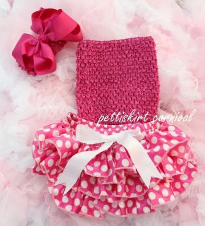 Baby Minnie Mouse Polka Dots Bloomers Hot Pink Tube Top Bow Headband
