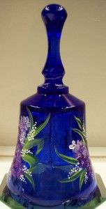 Fenton Bell Cobalt Blue w Purple Lilacs White Pearl Lily of The Valley