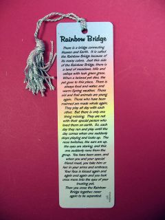 Rainbow Bridge Poem on A Tassel Bookmark Blue Tassel SKU 977