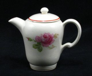 Vintage Single Serve Tea Pot Hot Water Pot Red Band Pink Roses