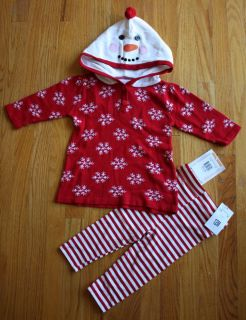 Bonnie Baby Girl 2pcs Cotton Knit Sweater Hoodie Leggings Set Red 12