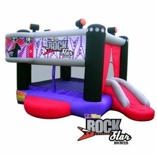 Inflatable Bouncer Bounce House w Slide Blower Carrying Case