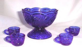 miniature cobalt blue glass punch bowl set please scroll down to the