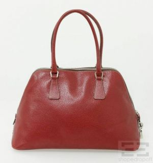 Prada Red Textured Boar Leather Bowler Bag