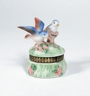 Blue Birds Porcelain Hinged Trinket Box Jewelry PHB