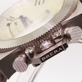 Brera Orologi Mens Stainless Steel Watch White Face Rubber Bracelet