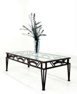 Brancusi Mid Century Modern Glass Top Coffee Table