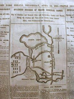 1863 Civil War newspaper w Map BRASHEAR CITY Louisiana & BAYOU TECHE