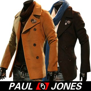 Mens Stylish Slim Fit Jacket Double Breasted Pea Coat Casual Outerwear