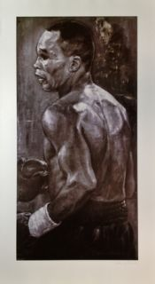 Sugar Ray Leonard 26x47 Lithograph Signed Autographed by Stephen