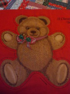 and Sew Christmas Gathering Teddy Bear Doll Fabric Craft Panel