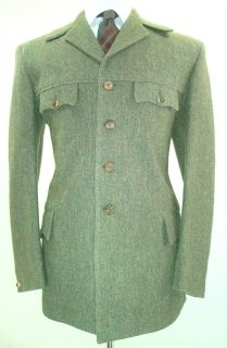 Olive Green Cambrian Tweed Norfolk Jacket 42R Large Horn Btns Shooting