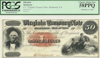 1862 $50 Virginia Civil War Treasury Note Gorgeous PCGS Choice AU 58