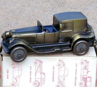 1970s Banthrico Brass 1927 Lincoln Brougham Car Bank IN BOX