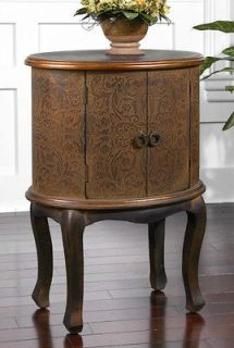 Embossed Brown Copper Ascencion Accent Table Hall Foyer Chest Cabinet
