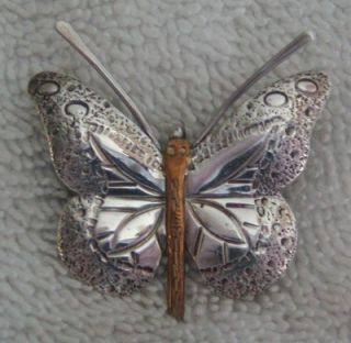 Vintage 2 Tone Sterling Silver Butterfly Brooch Pin