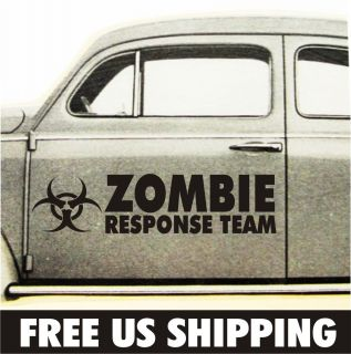 Zombie Response Team Door vinyl decal v i car window bumper sticker
