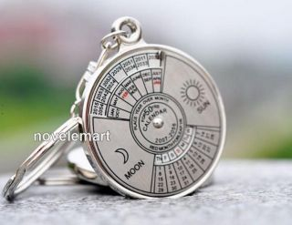 Unique Metal Key Chain Ring 50 Years Perpetual Calendar