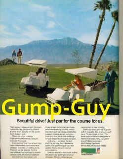 Ad for HARLEY DAVIDSON Golf Car Cart Electric Advert Hot Springs CA