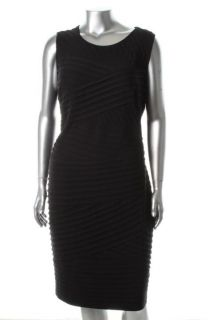 Calvin Klein New Black Jersey Pleated Sheath Cocktail Dress Plus 20W